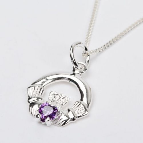 Sterling Silver Claddagh Birthstone Pendant with Alexandrite CZ